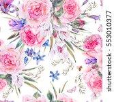 vintage watercolor spring... | Shutterstock . vector #553010377