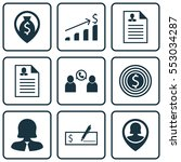 set of 9 hr icons. includes...   Shutterstock .eps vector #553034287