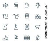 set of 16 gardening icons.... | Shutterstock .eps vector #553036237