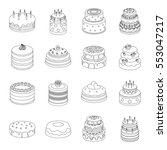 Cakes Set Icons In Outline...