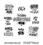 happy valentines day  hand... | Shutterstock .eps vector #553075663