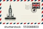 an envelope with a postage... | Shutterstock .eps vector #553088803