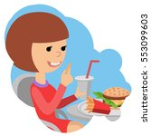 girl with fast food in hands. | Shutterstock .eps vector #553099603