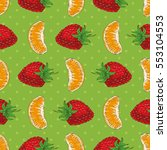 seamless pattern with tangerine ... | Shutterstock .eps vector #553104553