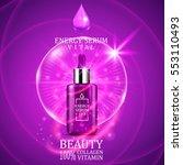 vital serum dropper bottle on... | Shutterstock .eps vector #553110493
