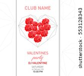 valentines party poster. fayer... | Shutterstock .eps vector #553128343