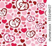 hearts seamless pattern... | Shutterstock .eps vector #553148437