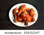 roasted chicken drumstick on...   Shutterstock . vector #553152247