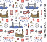 london city hand drawn pattern. | Shutterstock .eps vector #553155523