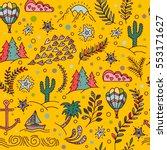 cartoon hand drawn doodles on a ...   Shutterstock .eps vector #553171627