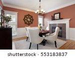 dining room with orange walls... | Shutterstock . vector #553183837