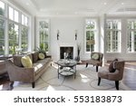 living room in luxury home with ... | Shutterstock . vector #553183873