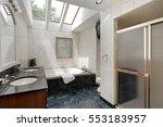 master bath in suburban home... | Shutterstock . vector #553183957