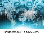 blue euro global trading... | Shutterstock . vector #553220293