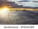 sunset asphalt asphalt tire... | Shutterstock . vector #553241383