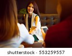three women having fun at the... | Shutterstock . vector #553259557
