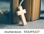 catholic rosary beads with old... | Shutterstock . vector #553295227