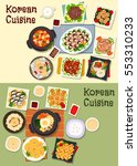 Korean Cuisine Icon Set With...