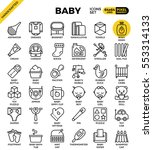 baby outline icons concept in... | Shutterstock .eps vector #553314133