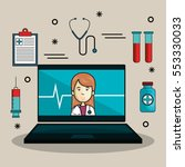 mobile health technology icon | Shutterstock .eps vector #553330033