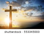 cross on blurry sunset... | Shutterstock . vector #553345003