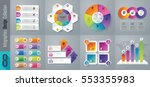 Infographic design vector and marketing icons can be used for workflow layout, diagram, annual report, web design. Business concept with 3, 4, 5, 6 and 10 options, steps or processes. | Shutterstock vector #553355983