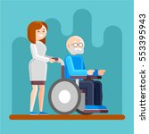 caring for seniors  helping... | Shutterstock .eps vector #553395943