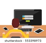 person trying to log in system... | Shutterstock .eps vector #553398973
