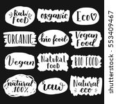labels with vegetarian and raw... | Shutterstock .eps vector #553409467