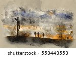 watercolour painting of... | Shutterstock . vector #553443553