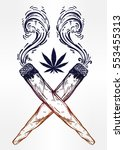 two crossed smoking weed joints ... | Shutterstock .eps vector #553455313
