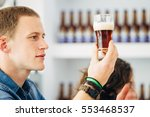 side view of blond man looking... | Shutterstock . vector #553468537