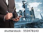 double exposure businessman... | Shutterstock . vector #553478143