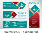 anchor icon on horizontal and... | Shutterstock .eps vector #553483393