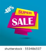 super sale banner as origami... | Shutterstock .eps vector #553486537