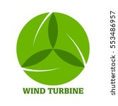 wind turbine with leaves logo