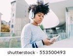 young beautiful afro woman... | Shutterstock . vector #553500493