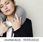 caucasian woman travel pillow... | Shutterstock . vector #553513213