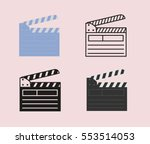 open movie clapperboard icon... | Shutterstock .eps vector #553514053