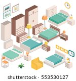 furniture for bedroom in... | Shutterstock .eps vector #553530127