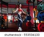 fitness trx training exercises... | Shutterstock . vector #553536133