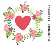 floral wreath with a heart in... | Shutterstock .eps vector #553554973