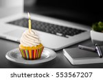 Tasty Cupcake On Working Place