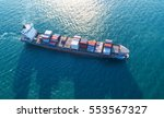container ship in export and... | Shutterstock . vector #553567327