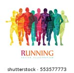 running marathon  people run ... | Shutterstock .eps vector #553577773