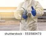 male worker with safety hand... | Shutterstock . vector #553580473