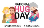 hug day poster with happy... | Shutterstock .eps vector #553593823