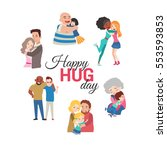 happy hug day background with... | Shutterstock .eps vector #553593853