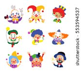 set of clown cartoon icon... | Shutterstock .eps vector #553594537