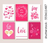 set of valentines day postcards.... | Shutterstock .eps vector #553611487